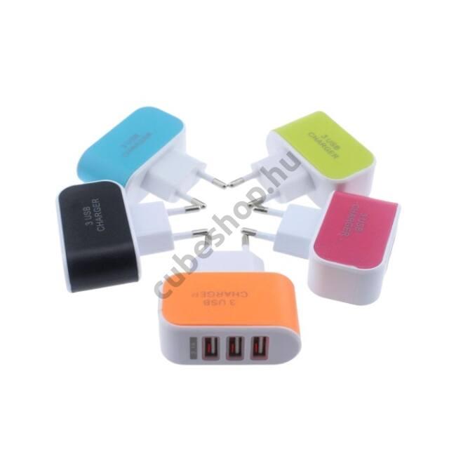 Univerzális hármas hálózati USB töltő elosztó adapter 5V 3.1A