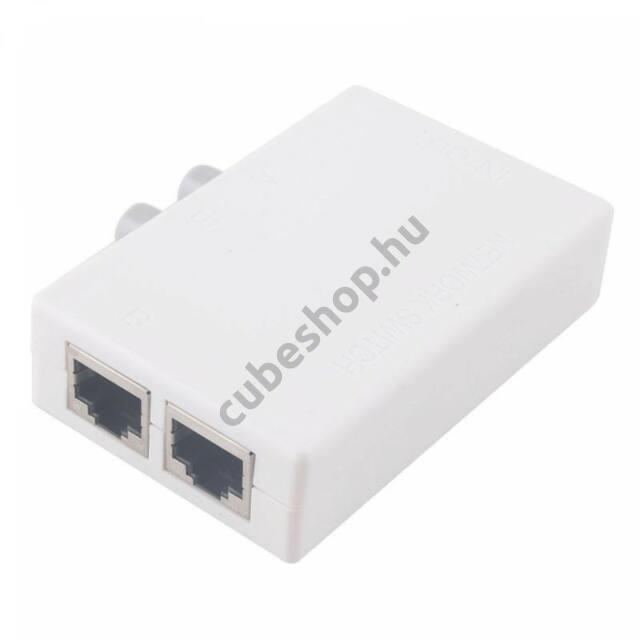 Mini 2 portos RJ45 RJ-45 Ethernet hálózati kézi kapcsoló doboz